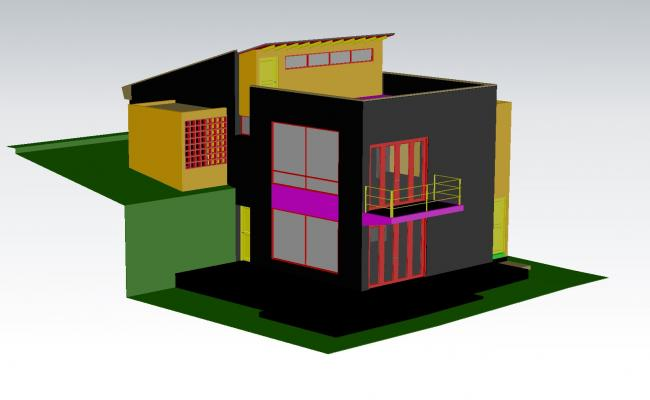House in 3D plan detail dwg file.