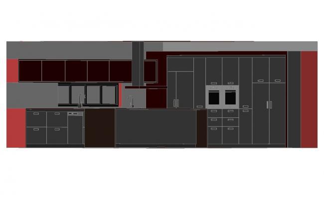 House kitchen 3d model design cad drawing details dwg file