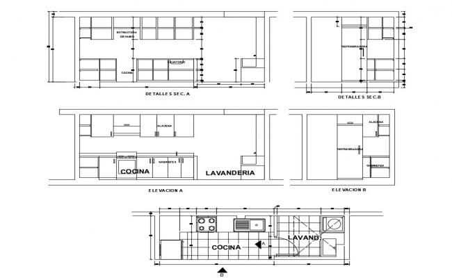 House Kitchen Elevation Section And Plan Cad Drawing