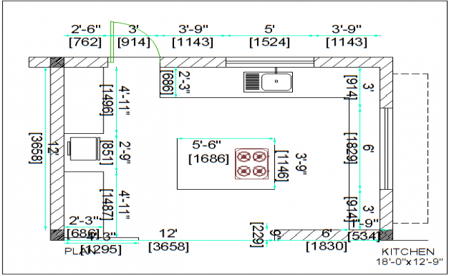 House kitchen plan layout detail dwg file