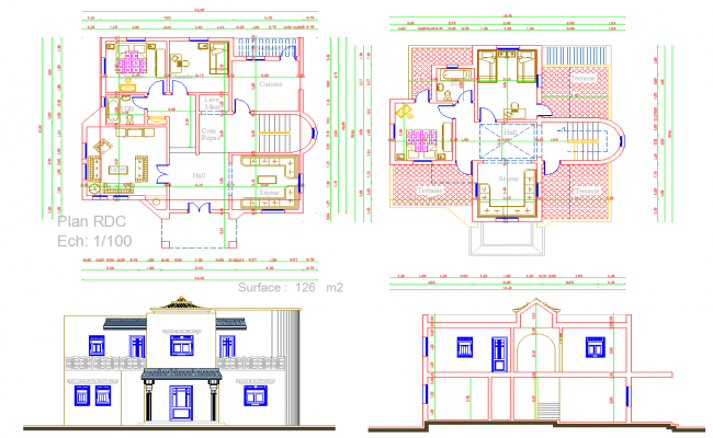 House layout plan and elevation design