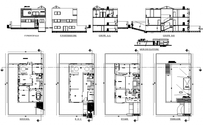 House layout plan and elevation design autocad file for House plan cad file