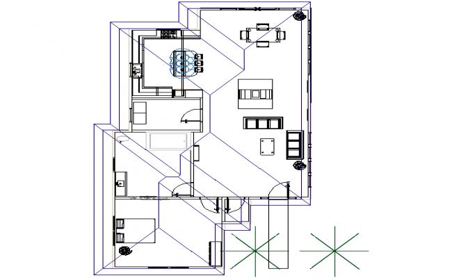 House line plan detail dwg file