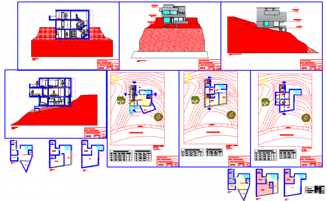 House on mountain architecture design in autocad dwg files