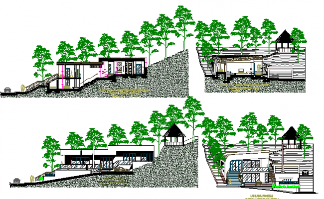 House on mountain elevation and section details dwg file
