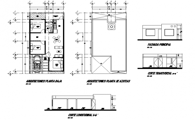 House plan, elevation and section layout file