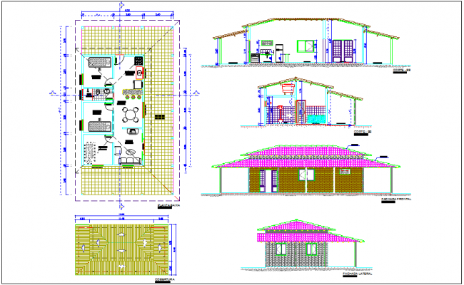 House plan,elevation and section view dwg file