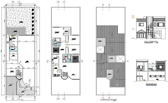 House plan 10.00mtr x 34.00mtr with detail dimension in dwg file