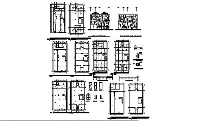 House plan 13.33mtr x 26.67mtr with elevation in dwg file