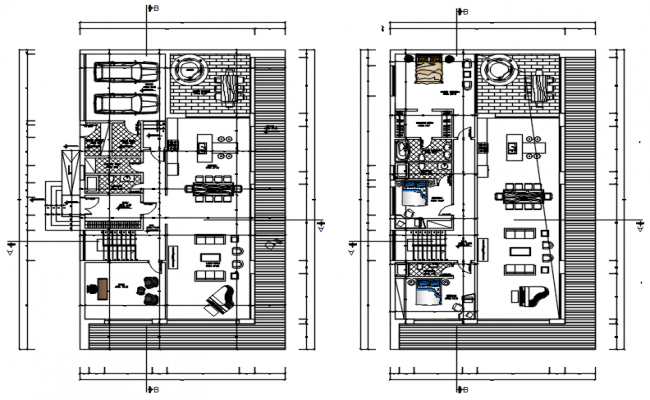 House plan 13.50mtr x 23.50mtr with detail dimension in AutoCAD