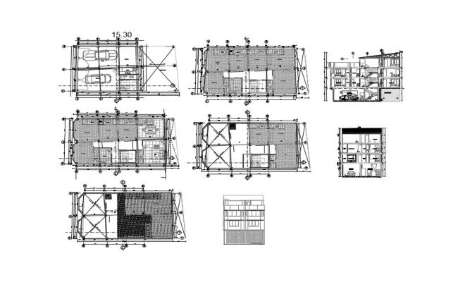 House plan 15.50mtr x 8.95mtr with elevation and section in AutoCAD