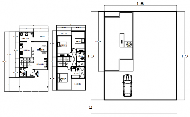 House plan 15mtr x 19mtr with detail dimension in dwg file