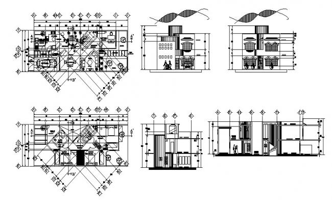 House plan 20.00mtr x 8.00mtr with elevation and section in dwg file