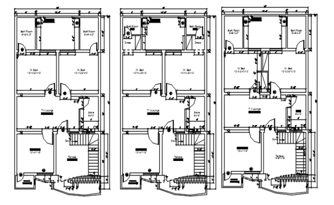House plan 28' x 50' with detail dimension in AutoCAD