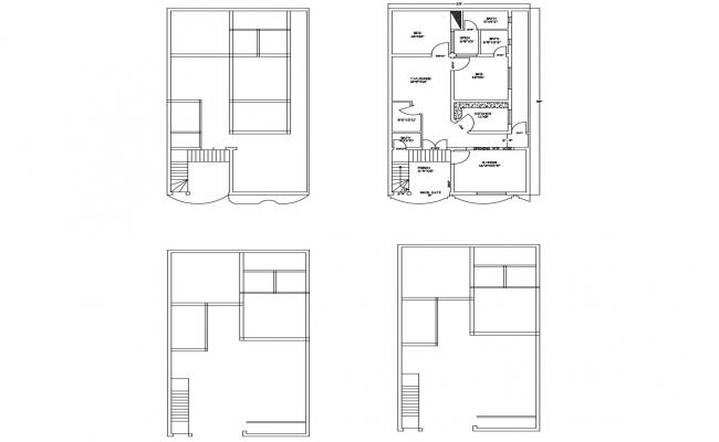 House plan 29' x 52' with detail dimension in dwg file