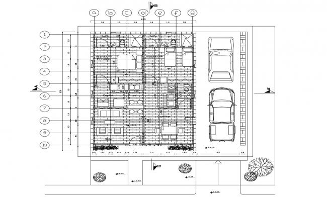 House plan 8.35mtr x 12.6mtr with detail dimension in dwg file