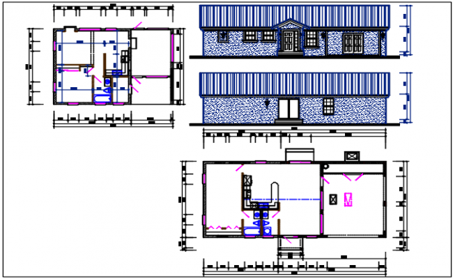 House plan and elevation view detail dwg file