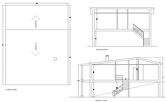 House plan and section detail dwg file