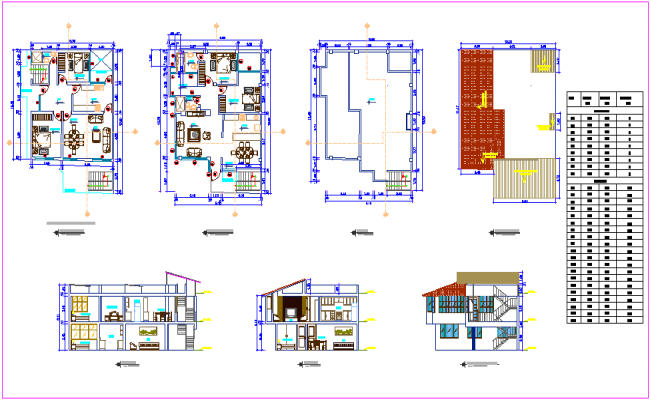 House plan design view with elevation and sectional view with door and window detail dwg file