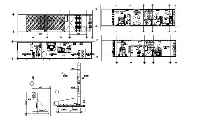 House plan design with detail dimension in autocad
