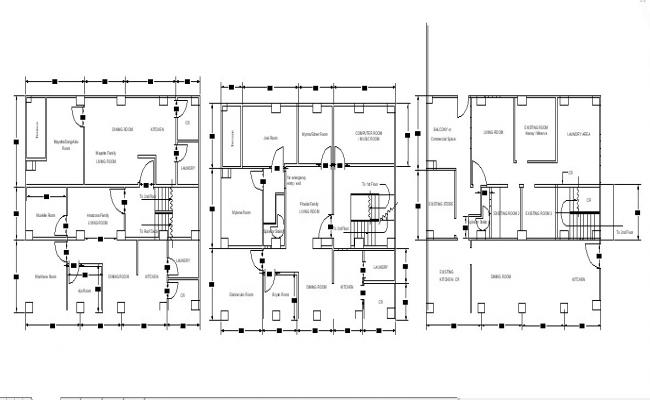 House plan design with detail dimension in dwg file