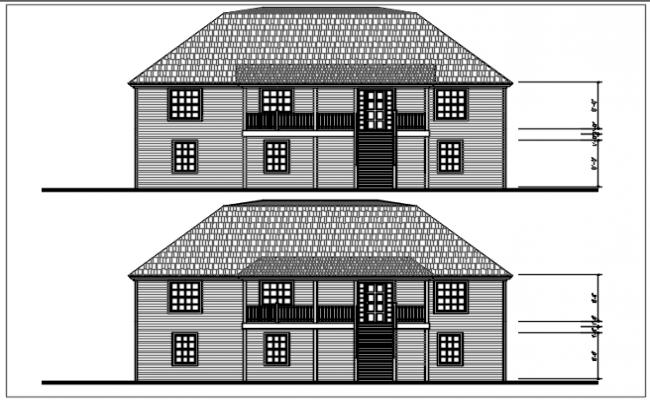 House plan elevation detail dwg file