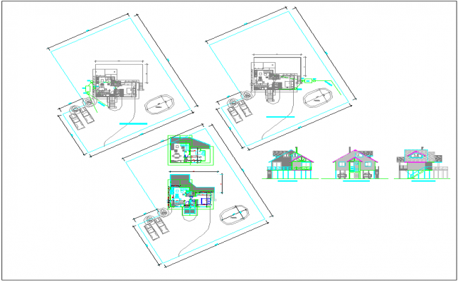 House plan elevation section view dwg file