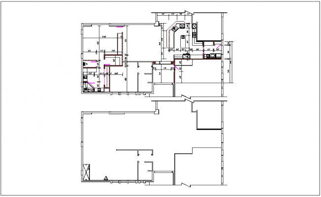 House plan layout view with dimensions detail dwg file