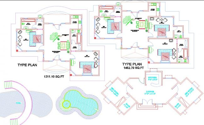 House plan of 2 & 3 BHK