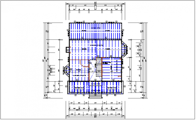 House plan view, foundation layout and roof structure plan layout view detail dwg file