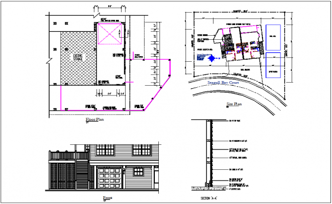 House plan view and site plan view detail with section view of wall structure detail dwg file