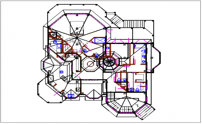 House plan view dwg file