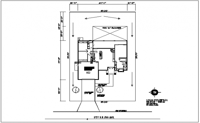 House plan view with north direction detail dwg file