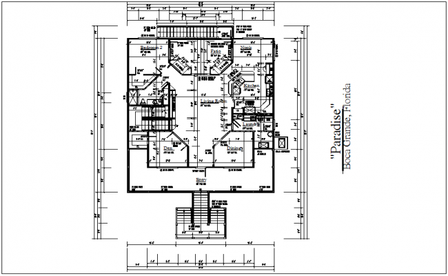 House plan with architectural view dwg file