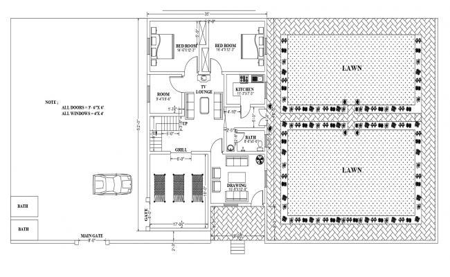 House Plan In DWG File