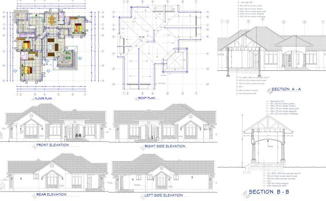 House plan with detailed dimensions, sections elevations and 3D