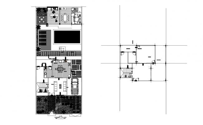 House plan with furniture details in AutoCAD