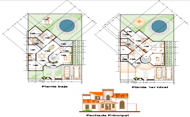 House plan with landscaping design