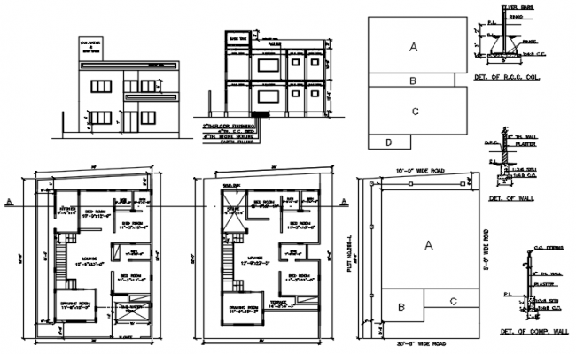 House plan with section and elevation in dwg file