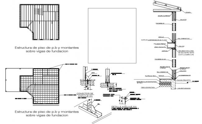 House roof plan and section dwg file