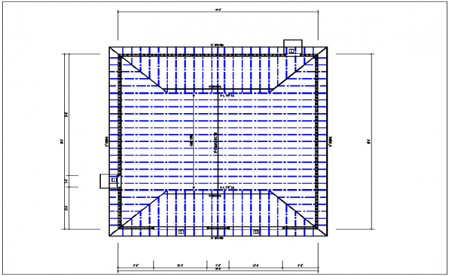 House roof plan layout view detail dwg file