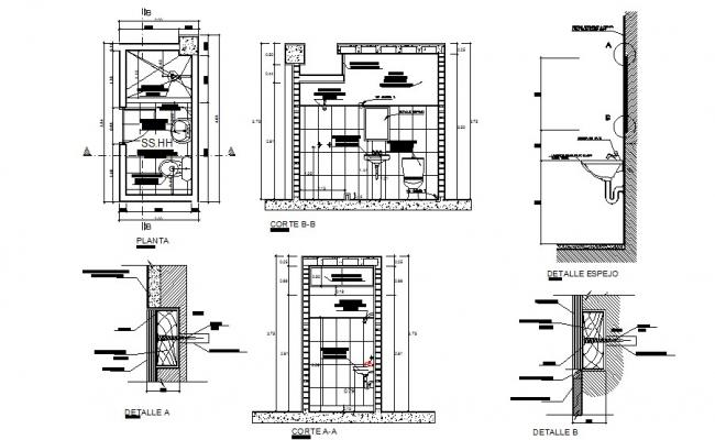 House sanitary section, plan and installation cad drawing details dwg file