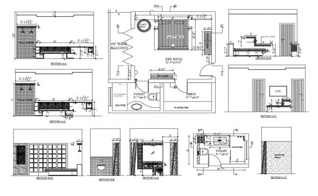 House sanitary sectional and installation details dwg file