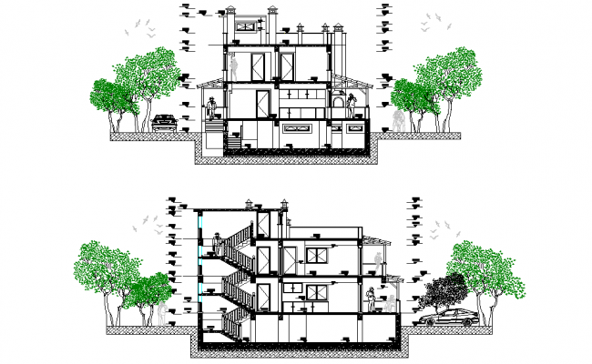 House section plan autocad file