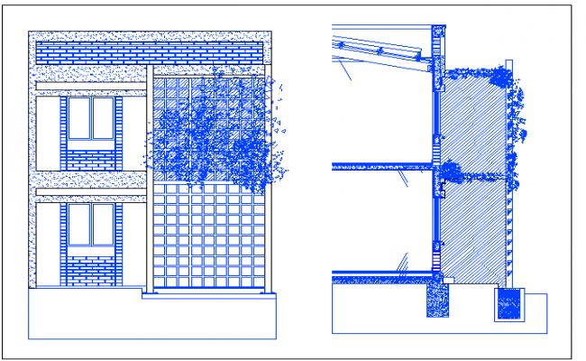 House side elevation with garden dwg file