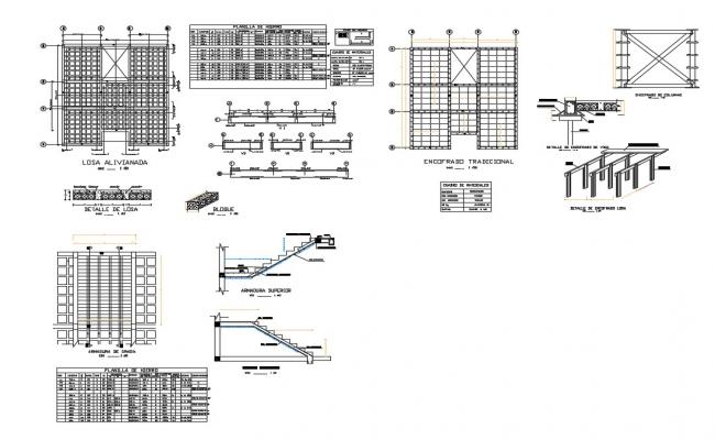 House staircase construction and cover plan and structure details dwg file