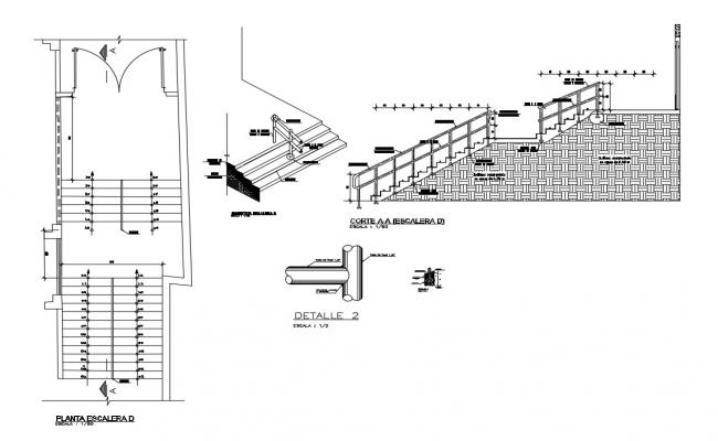 House stairs section and constructive structure details dwg file