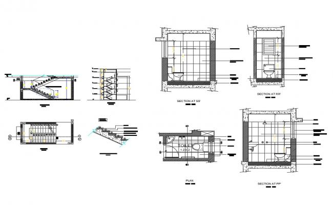 House stairways section and sanitary installation details dwg file