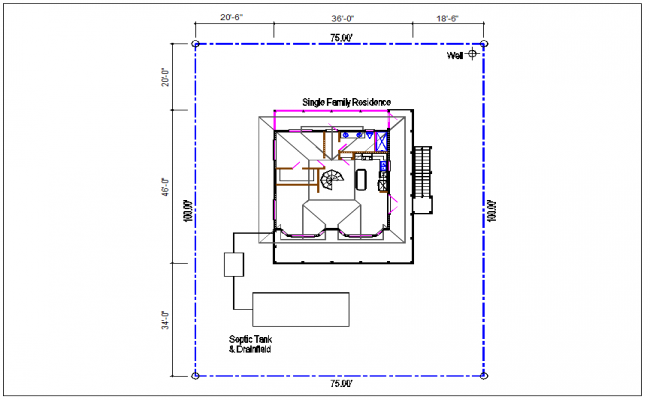 House top view detail dwg file
