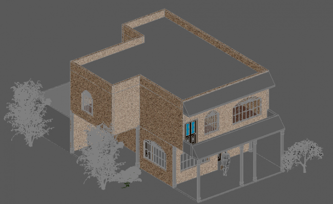 House two plants 3 d detail dwg file